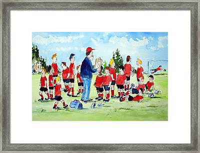 Half Time Pep Talk Framed Print by Wilfred McOstrich