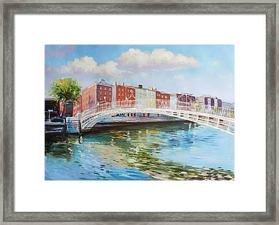 Halfpenny Bridge Dublin Framed Print by Conor McGuire