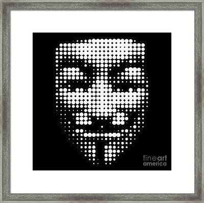 Halftone Anonymous Face  Framed Print