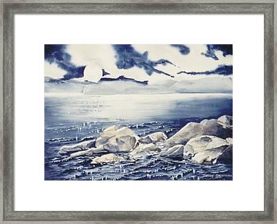 Haliburton-rocks Framed Print by Nancy Newman
