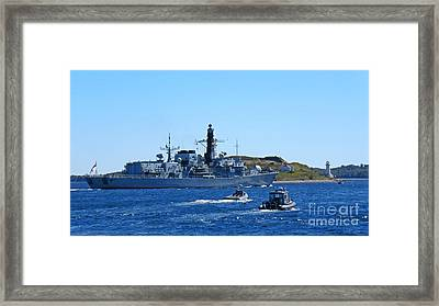 Halifax Nova Scotia Harbor With Naval Vessel Taking Part In Nato Exercises Framed Print by John Malone