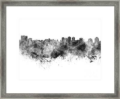 Halifax Skyline In Black Watercolor On White Background Framed Print by Pablo Romero