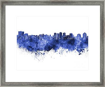 Halifax Skyline In Blue Watercolor On White Background Framed Print by Pablo Romero