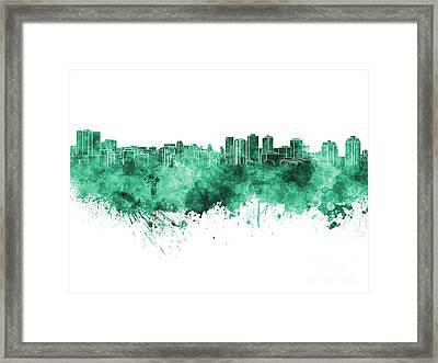 Halifax Skyline In Green Watercolor On White Background Framed Print by Pablo Romero