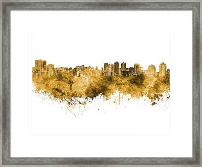 Halifax Skyline In Orange Watercolor On White Background Framed Print by Pablo Romero