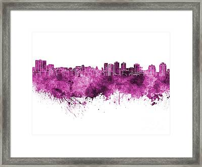Halifax Skyline In Pink Watercolor On White Background Framed Print by Pablo Romero