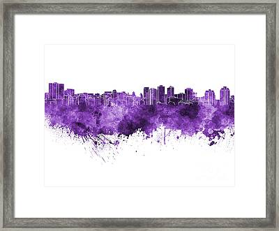 Halifax Skyline In Purple Watercolor On White Background Framed Print by Pablo Romero
