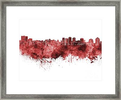 Halifax Skyline In Red Watercolor On White Background Framed Print by Pablo Romero