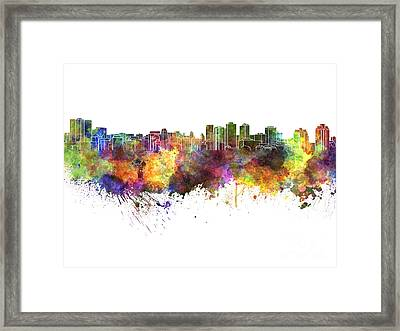 Halifax Skyline In Watercolor On White Background Framed Print by Pablo Romero
