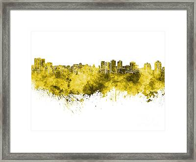 Halifax Skyline In Yellow Watercolor On White Background Framed Print by Pablo Romero