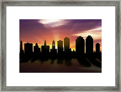Halifax Skyline Sunset Canshx22 Framed Print by Aged Pixel