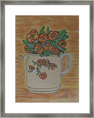 Framed Print featuring the painting Hall China Orange Poppy And Poppies by Kathy Marrs Chandler