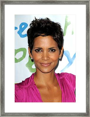 Halle Berry At Arrivals For Silver Rose Framed Print by Everett