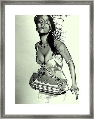 Halle Berry Drawing Framed Print by Keeyonardo