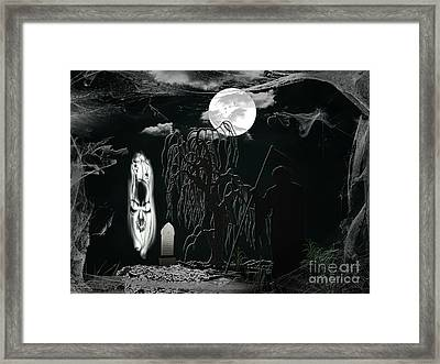 Halloween Background With Spooky Grave, Naked Tree And Bats. Framed Print by Dani Prints and Images