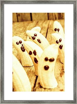 Halloween Banana Ghosts Framed Print