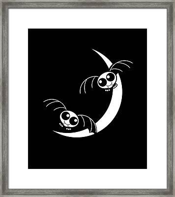 Halloween Bats And Crescent Moon Framed Print