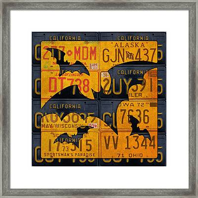 Halloween Bats Recycled Vintage License Plate Art Framed Print by Design Turnpike