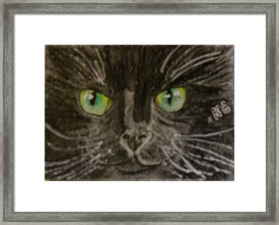 Framed Print featuring the painting Halloween Black Cat I by Kathy Marrs Chandler