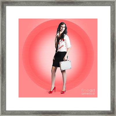 Halloween Business Girl With Dead End Job Framed Print by Jorgo Photography - Wall Art Gallery