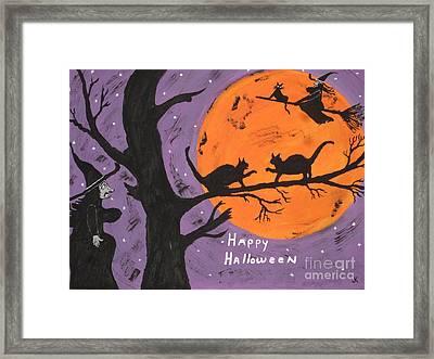 Halloween Cat Fight Framed Print by Jeffrey Koss