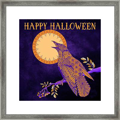 Halloween Crow And Moon Framed Print by Tammy Wetzel