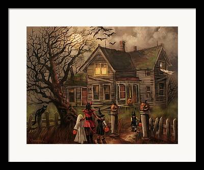 Trick-or-treaters Framed Prints