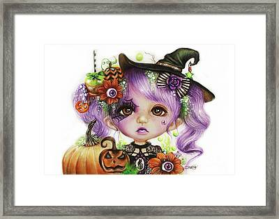 Framed Print featuring the drawing Halloween Hannah - Munchkinz Character  by Sheena Pike