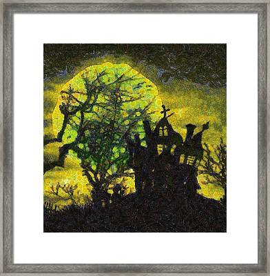 Halloween Haunted House Framed Print