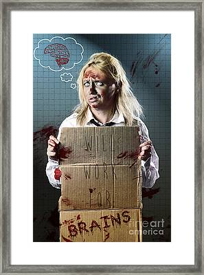 Halloween Horror Zombie With Unemployed Sign Framed Print by Jorgo Photography - Wall Art Gallery