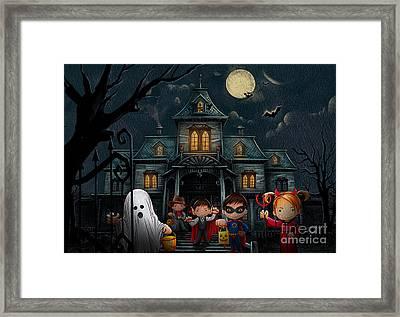 Halloween Kids Night Framed Print by Bedros Awak