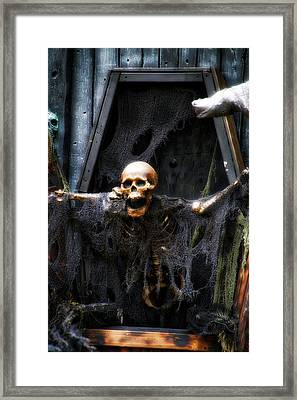Halloween Mr Bones Boo Framed Print by Thomas Woolworth