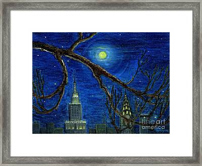 Halloween Night Over New York City Framed Print by Anna Folkartanna Maciejewska-Dyba