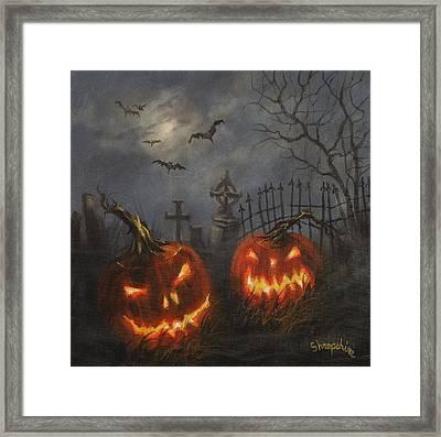 Halloween On Cemetery Hill Framed Print