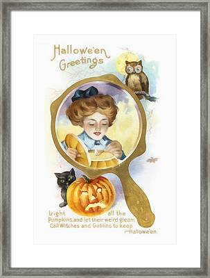 Halloween Owl Framed Print by Unknown