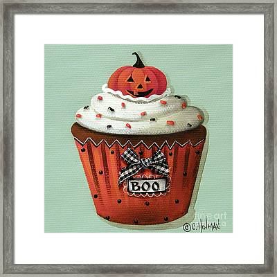 Halloween Pumpkin Cupcake Framed Print by Catherine Holman