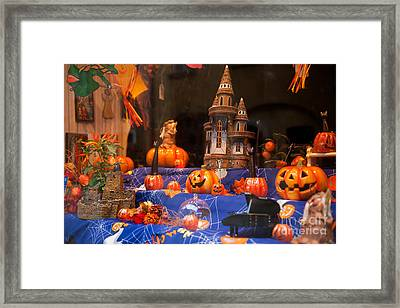 Halloween Scary And Funny Pumpkins Framed Print by Arletta Cwalina