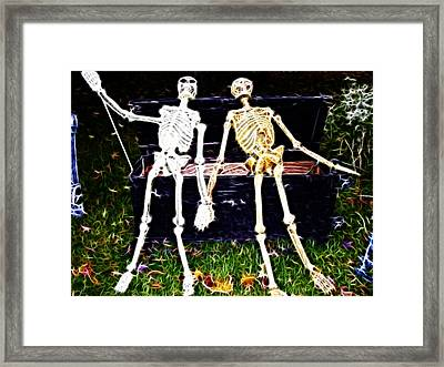 Halloween Skeleton Couple Framed Print