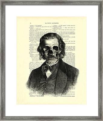 Halloween Skull Portrait In Black And White Framed Print