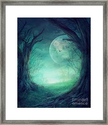 Halloween Spooky Forest Framed Print