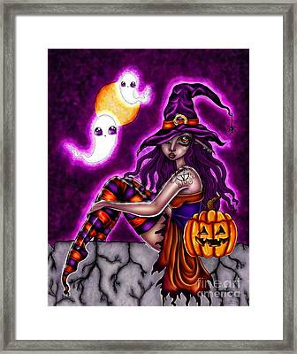 Halloween Witch Framed Print by Coriander  Shea