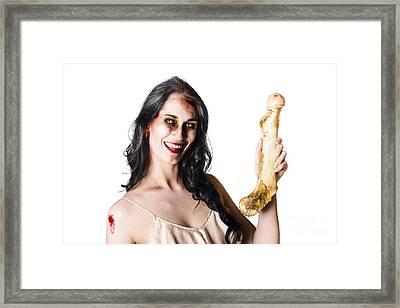 Halloween Zombie Holding Human Bone Framed Print by Jorgo Photography - Wall Art Gallery