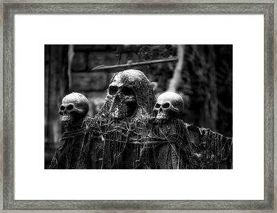 Halloween Zombies The Day After 01 Bw Framed Print by Thomas Woolworth