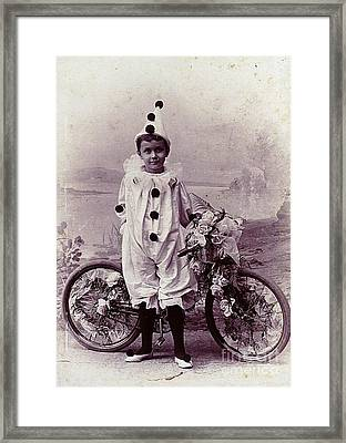 Framed Print featuring the photograph Halloween Pierrot Boy With Antique Bicycle Circa 1890 by Peter Gumaer Ogden