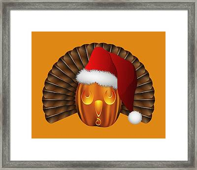 Hallowgivingmas Santa Turkey Pumpkin Framed Print