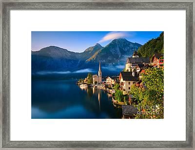 Hallstatt Is A Village In The Salzkammergut, A Region In Austria Framed Print