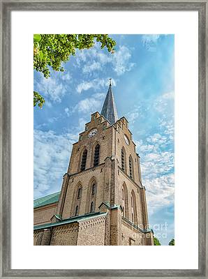 Framed Print featuring the photograph Halmstad Church In Sweden by Antony McAulay