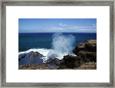 Halona Blowhole Framed Print by Charmian Vistaunet