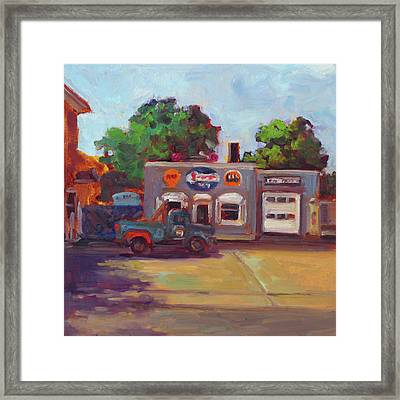 Hal's Garge Framed Print by Nora Sallows