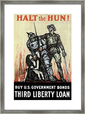 Halt The Hun - Ww1 Framed Print